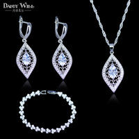Romantic Birthday Party Wedding Costume Jewelry Sets For Women 925 Mark Silver Color Jewelry Bracelets Pendant