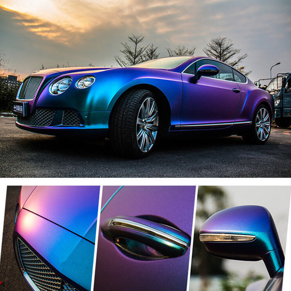 1.52*18 M bricolage carrosserie pellicule de film vinyle autocollant violet bleu caméléon Automobiles voiture film d'emballage en vinyle