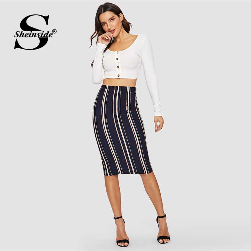 3701b97a5868 ... Sheinside Elegant Vertical Stripe Print Midi Skirt Women Casual Bodycon  Skirts 2019 Spring Office Ladies Workwear ...