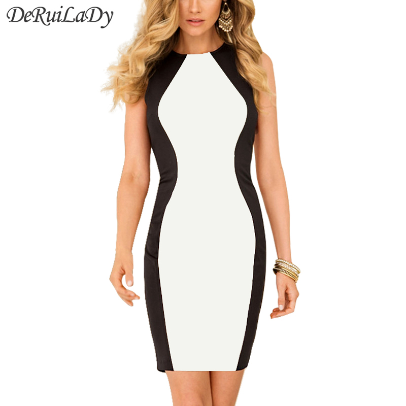 Buy Cheap DeRuiLaDy Fashion Black White Splice Women Dress Sleeveles Vest Summer Dresses Plus Size Sexy Dress Vintage Office Bodycon Dress