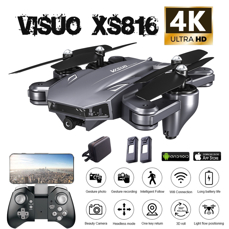 Visuo XS816 Drone 4K 20 Minutes Dual Camera FPV Optical Flow Positioning Foldable Selfie RC Quadcopter With Camera VS XS809HW