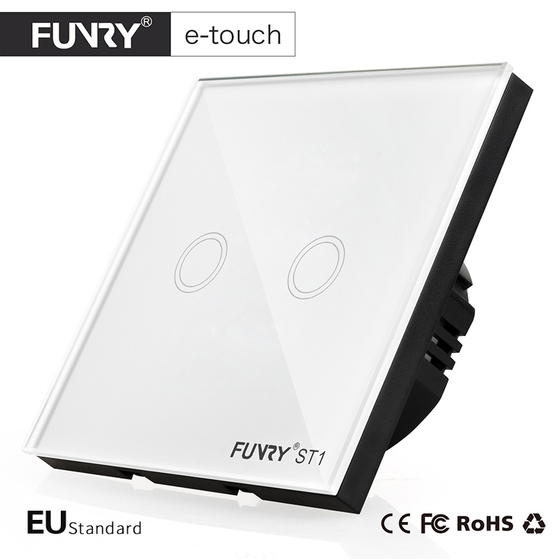 FUNRY ST1-EU Standard 2Gang 1Way 3 Color Touch Switch Smart Home Wall Switch with Glass Panel for Home Automation Free Shipping eu standard 2 gang 1 way touch switch crystal glass panel wall light switches smart home automation round type