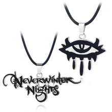 HOT Game Neverwinter Nights Necklace High quality zinc alloy Black Enamel Letter Eye Logo Pendant metal Accessories Men Jewelry(China)