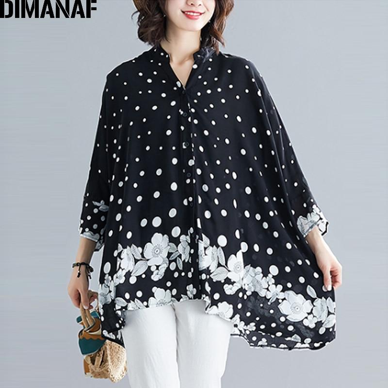 DIMANAF Summer Plus Size Women   Blouse     Shirts   Beach Lady Tops Tunic Polka Dot Floral Big Size Loose Female Clothes 5XL 6XL 2019