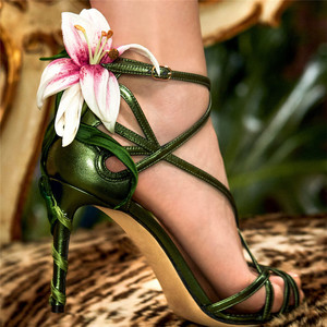 Image 2 - Luxury Lily Embellished Metallic Leather Strappy Stiletto Sandals Women Open Toe Ankle Strap Floral Heel Shoes Woman 2019 Summer