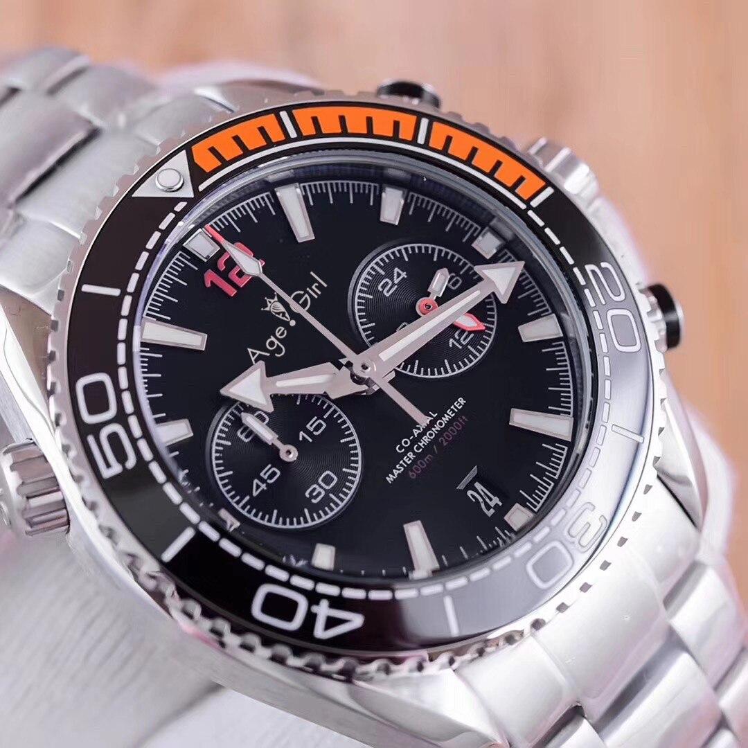 Здесь можно купить  Luxury Brand New 007 Men Stopwatch Watch Ceramic Bezel Stainless Steel Orange Canvas Rubber Black Grey Chronograph Sapphire AAA+  Часы