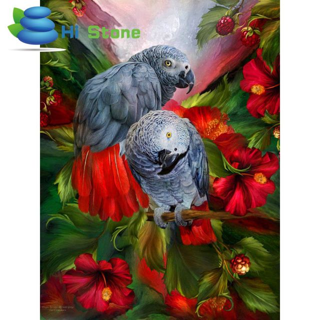 Diy 3d Diamant Stickerei Wohnkultur Strass Bild Diamant Malerei Mosaik  Volle Rosenbohrer Wandfarbe Grau Papagei 70304