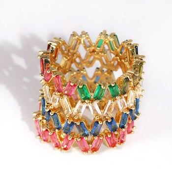b64661e1349b Newshe 925 Plata de Ley apilable anillo de boda banda de compromiso para  mujeres diseño de onda curva AAA CZ joyería de moda