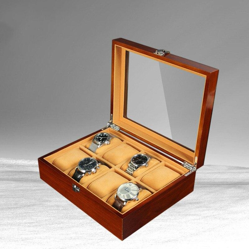 Nouveau 8 grille en bois montre boîte mallette de rangement organisateur bijoux affichage cadeau de haute qualité rétro luxe montre-bracelet boîtier bois montres boîte