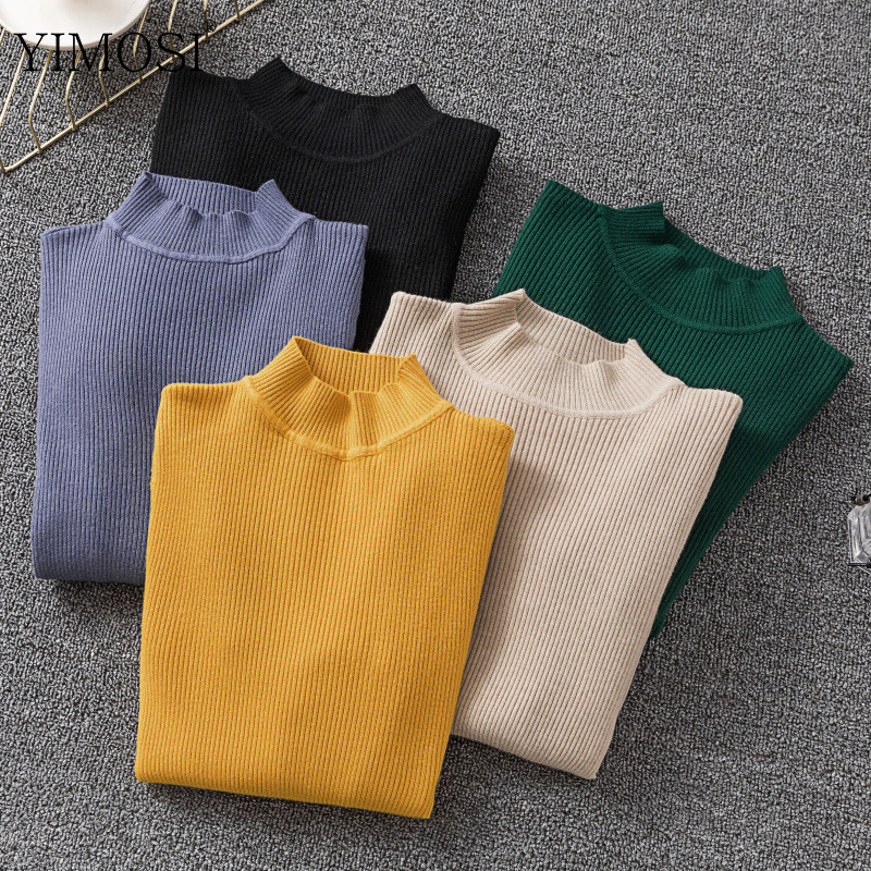 Turtleneck Sweater Jumpers Solid-Pullovers Long-Sleeve Korean-Style Winter Women Casual
