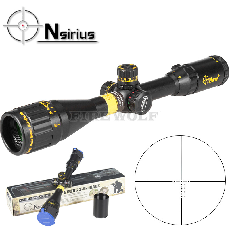 NSIRIUS Tactical Gold 3-9X40 AO Riflescope Optical Sight Full Size Mil Dot Red Green Llluminate Hunting Rifle Scope sniper 3 9x40 rifle scope full size tactical optical sight illuminate mil dot riflescope hunting rifle scope with 25mm mount
