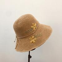 2019 spring handmade crochet flowers ethnic wind folding retro beach sunscreen straw hat hat summer korean women sun hats
