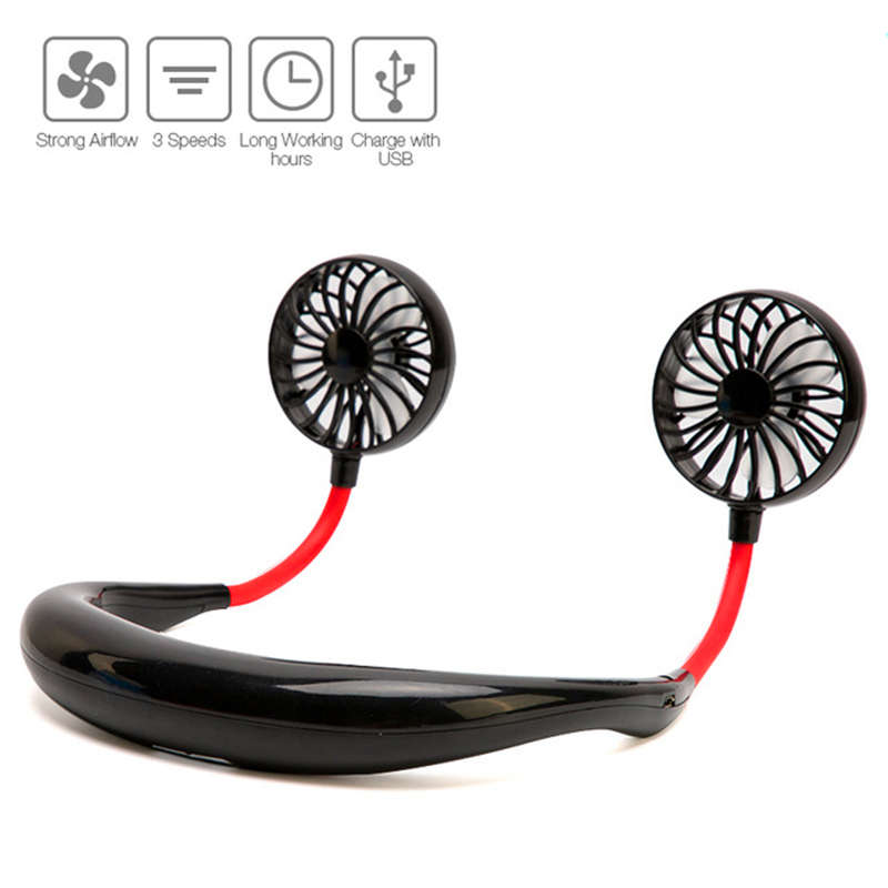 Summer Hands-free Hanging Neck Fan Rechargeable Sports Dual Mini Fan Neckband Lazy Neck Hanging Style Portable USB Fan Cooler