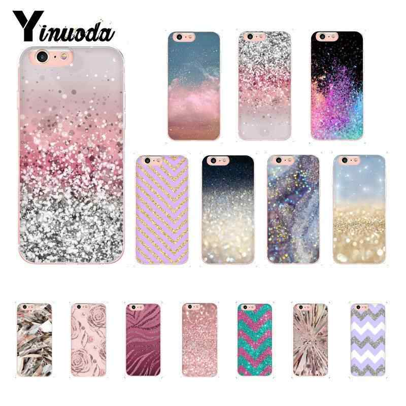 Yinuoda Gold Pink Glitter Print TPU black Phone Case Cover Shell for iPhone X XS MAX 6 6S 7 7plus 8 8Plus 5 5S XR 10 Case