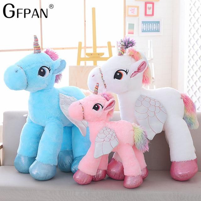 1PC 90CM 2018 New High Quality Unicorn Stuffed Animals Soft Doll Cartoon Unicorn Kawaii Horse Toys Birthday Gift For Children