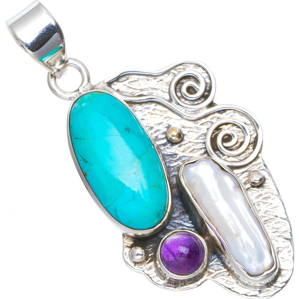 Natural Turquoise,Biwa Pearl and Amethyst Handmade Unique 925 Sterling Silver Pendant 1.75