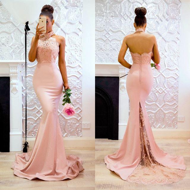 2019 Illusion Halter Sheath Lace And Chiffon Pink Sweep Train Custom-Made Full-Length   bridesmaid     dress