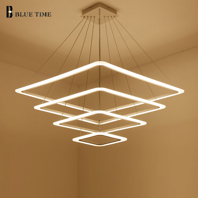 40 60 80CM Square Modern LED Chandeliers For Living Room Dining Room Lustre Rings Acrylic Chandelier Hanging Ceiling luminaire modern crystal chandelier led hanging lighting european style glass chandeliers light for living dining room restaurant decor
