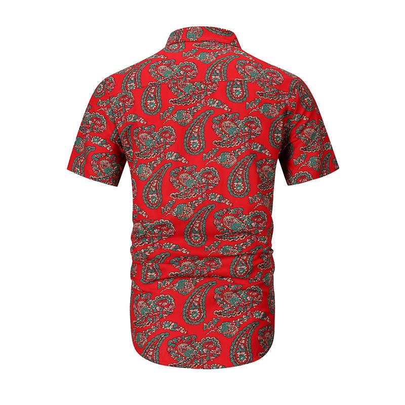 Мужская гавайская рубашка 2019 Фирменная Новинка с коротким рукавом рубашка с орнаментом Пейсли Мужская Узкий крой, на лето пляжная Повседневная Цветочная рубашка мужская Camiseta Hombre