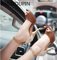 New Women Shoes Color Block Small Yards 32 33 Open Toe Sandals Female Sexy Plus Size 42 43 Thin Heels High Heels One Word Buckle