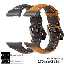 YOOSIDE for Fitbit Charge 3 Genuine Leather Band Strap Bracelet Wristband with Metal Clasp for Fitbit Charge 3 /Charge 3 SE