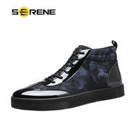 SERENE Brand Mens Shoes Fashion Boots Basic Boots Canvas Boots Casual Lace Up Ankle Print Boots