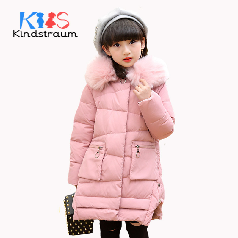 Kindstraum 2017 New Girls Winter Jacket Coat Duck Down Kids Fashion Solid Down Coat Hooded Super Warm Girls Casual Outwear,MC848 kindstraum 2017 fashion kids winter jacket cotton new boys girls warm hooded coat children casual dinosaur outwear printed mc802