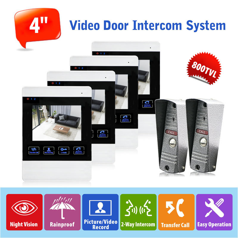 Fashion Design 2v4 4 inch Touch Monitor Video Phone Intercom Security Camera Doorbell Home Security Door Video Camera 800TVL
