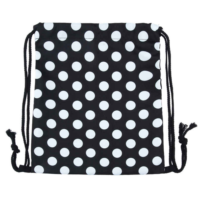 8561e9fcf ... Jomtokoy Black and white dots Drawstring Bag 3D Printed Cute Girls  School Drawstring Backpack ...