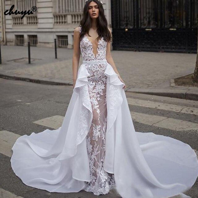 zapatos de temperamento gran venta de liquidación sitio web profesional 2019 vestidos de boda musulmanes Deep V desmontable apliques ilusión Dubai  árabe vestido novia