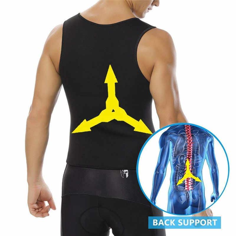 NINGMI мужской жилет для похудения популярная рубашка снижение веса потогонный костюм для сауны Талия утягивающий корсет неопреновый топ на бретелях с молнией