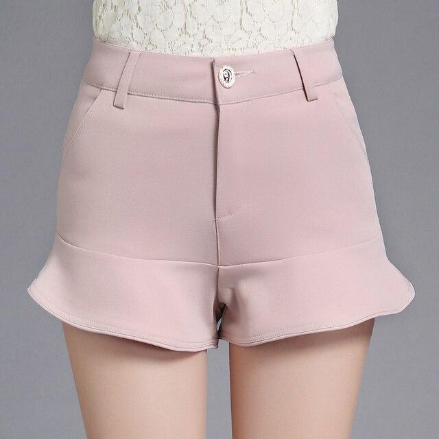 2017 New Summer Sexy Women Casual Ruffles Shorts Skirts Mid Waist Mermaid Bodycon Skirts Pink White Black Shorts S-3XL