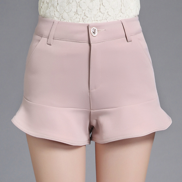 2017 nova verão sexy mulheres ruffles casual shorts saias mid cintura sereia bodycon saias rosa branco preto shorts s-3xl