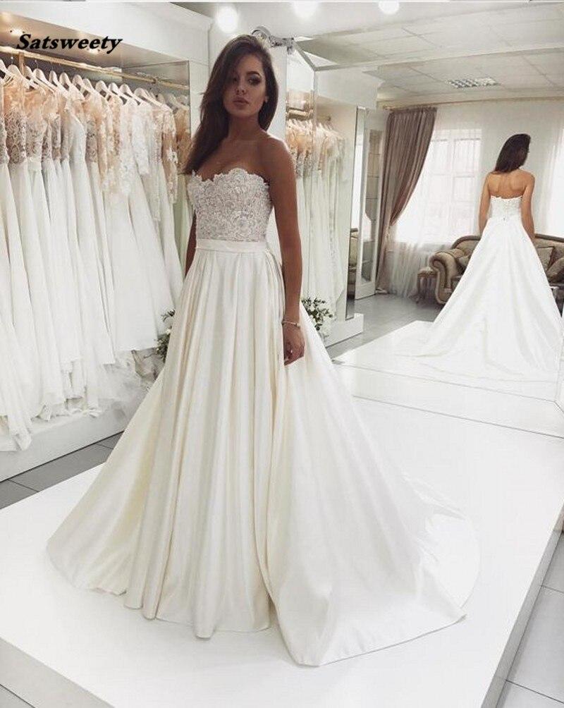 2019 nouveau Design chérie une ligne dentelle corsage Satin ivoire robes De mariée Robe De Mariee Robe De mariée Vintage pour mariage