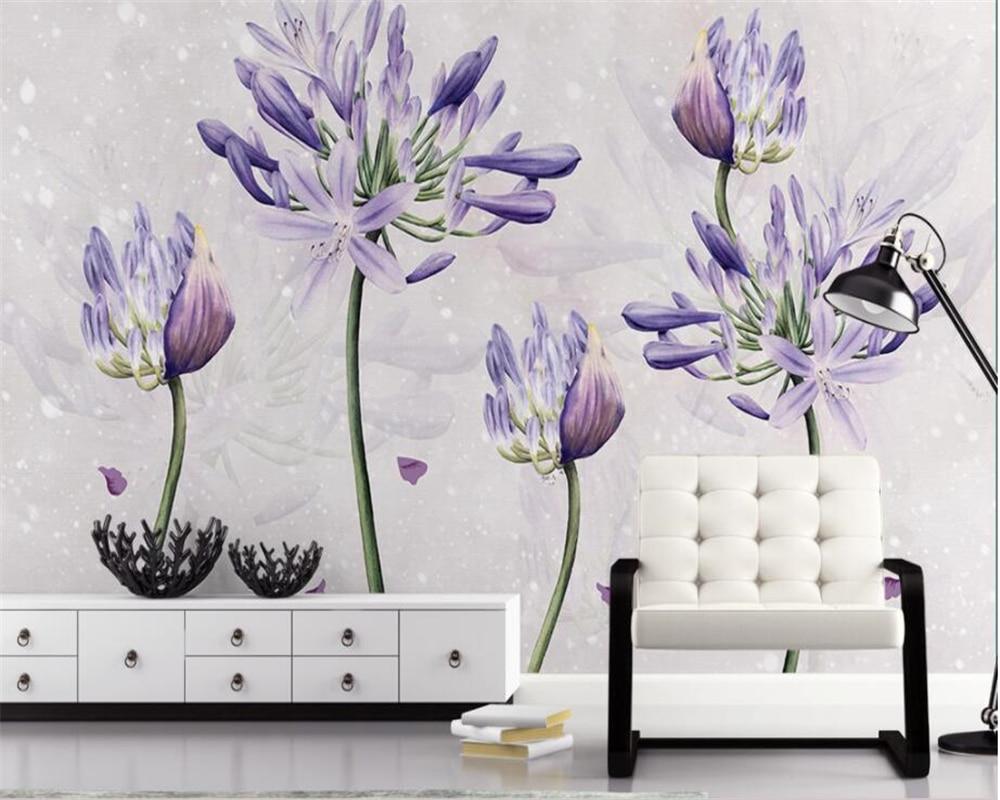 beibehang high quality lavender 3d wallpaper stereoscopic Custom photo papel murals de parede