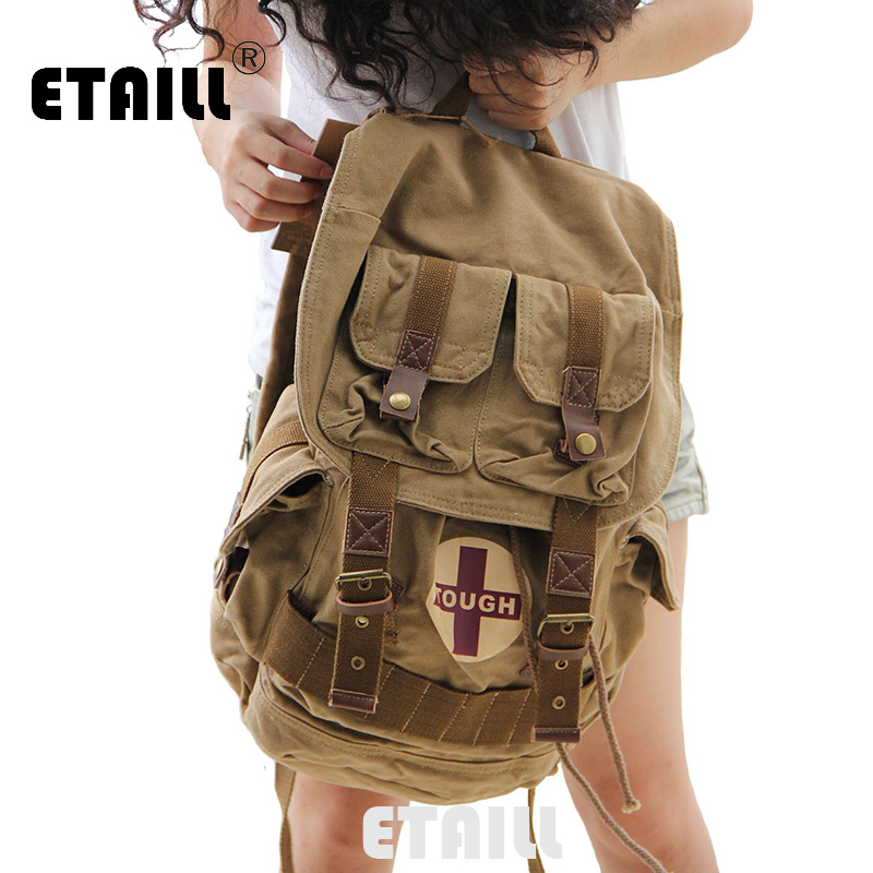 2016 Ladies Casual Vintage Male Canvas Backpack Women School Bags Men Luxury Famous Brand Laptop Logo Military Travel Rucksack