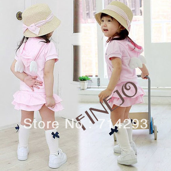 Baby Clothing Summer Children's Girls Lovely Angel Wings Top Hooded T-shirt+ Skirt Clothes Set 14483