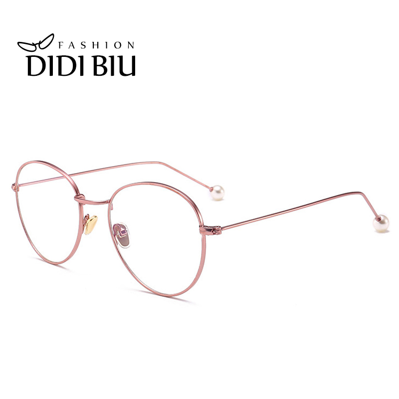 DIDI Small Round Clear Eyeglass Frame Pearl Rose Gold Retro Thin ...