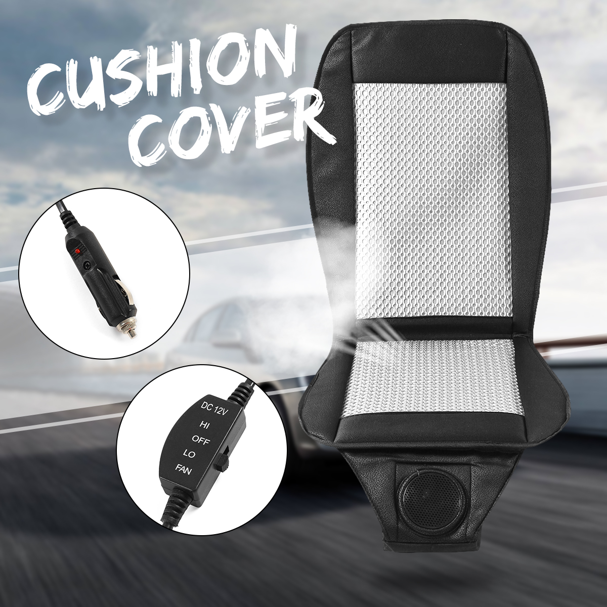 12V Summer electric Car seat cushion seat cover Cooling air conditioning Breathable Fan Cooler Cable cable knit overlay cushion cover