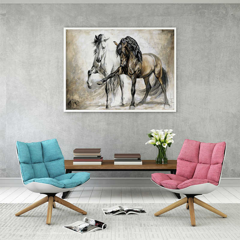 Retro Couple Horse Oil Paintings Print On Canvas Printings Abstract Wall Posters Prints Watercolor Wall Pictures For Living Room