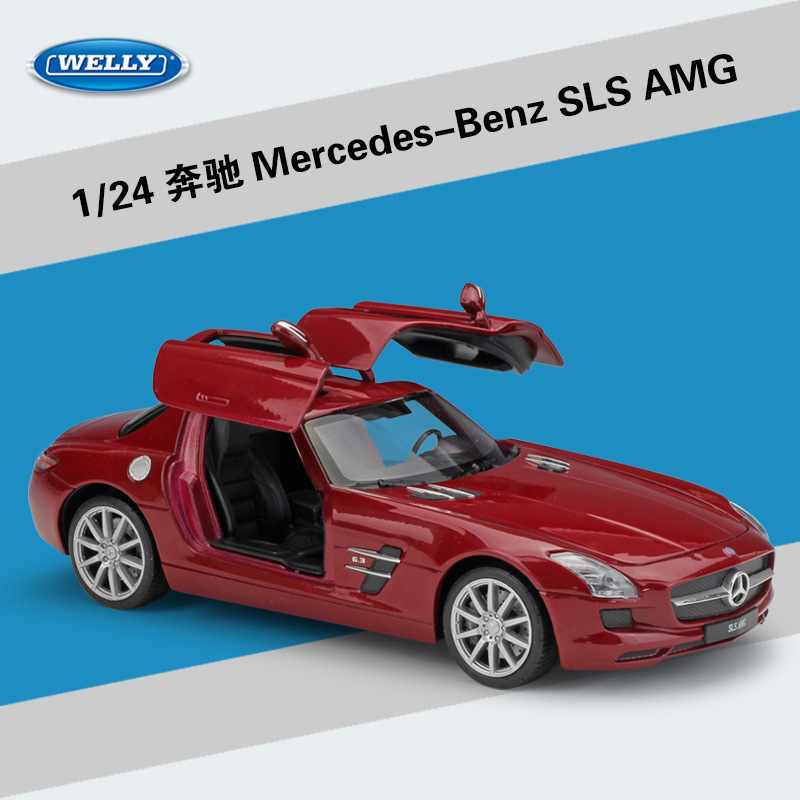 WELLY 1:24 High Simulation Benz SLS AMG Sports Car Matte Diecast Metal Alloy Classical Model Car Toys For Boys Gifts Collection