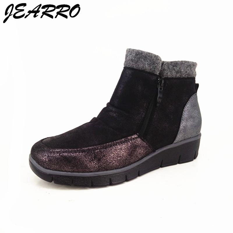 Jearro Femmes Cheville Zipper Plissée Chaleureusement Femme Appartements Noir Bottes Casual Size37 Chaussures D'hiver Mode SUpVMqz