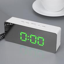 Digital LED Mirror Alarm Clock Desktop Clock Temperature Display Alarm Snooze Multi-function Electronic Timer