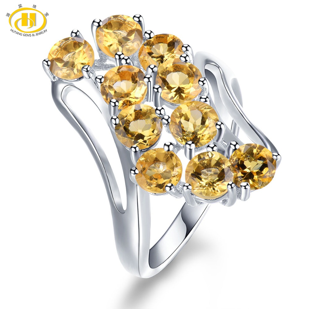 Hutang Engagement Ring Natural Gemstone Citrine Solid 925 Sterling Silver Wedding Fine Fashion Stone Jewelry For Women Gift New