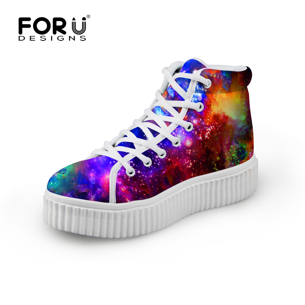 FORUDESIGNS Fashion Women Galaxy Printed Platform Shoes,Casual Breathable High Top Shoes Ladies Height Increasing Creepers Shoes