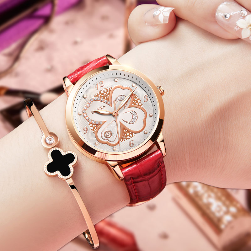 OLEVS Luxury Nurse Watch Women Rose Gold Leather Quartz Watches Waterproof Ladies Wrist watch Mother's Day Gift reloj mujer red weiqin women watch brand luxury ceramic band rhinestone fashion watches ladies rose gold wrist watch quartz watch reloj mujer