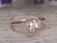 7x7mm Ronda Peach Pink Morganite Garra de Diamantes de Halo Anillo de Compromiso de Diamantes Aniversario Anillo de Bodas Band 14 k Oro rosa Tamaño 4-10