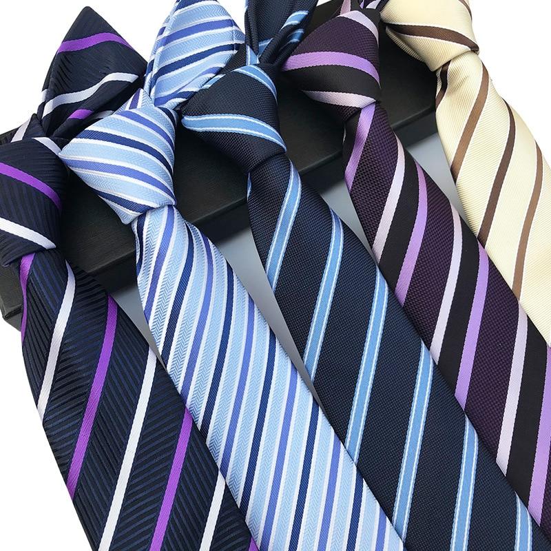New Classic Silk Men Tie Plaid Striped Neck Ties 8cm Navy Blue Ties For Men Formal Wear Business Suit Wedding Party Gravatas