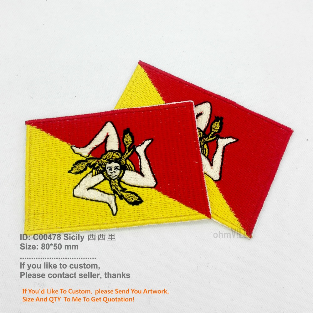 SICILIANA SICILIAN SICILY NATIONAL FLAG Sew on Patch Free Postage