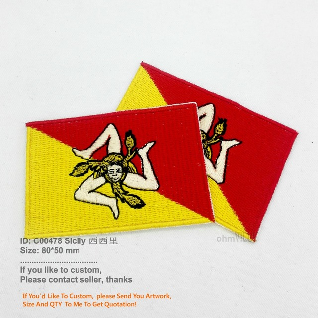 Aliexpress Buy New Sicily Sicilia Flag Patches Embroidery